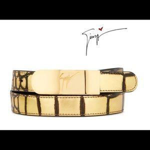 giuseppe zanotti NEW gold crocodile designer belt